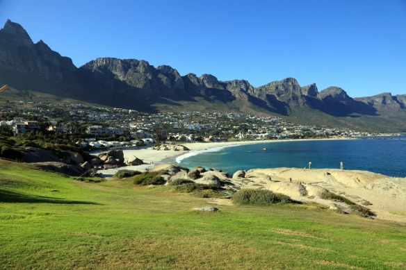 Camps Bay Beach with mountains in background known as 12 Apostles