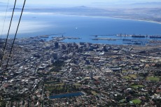 Cape Town and harbour while descending on cable car