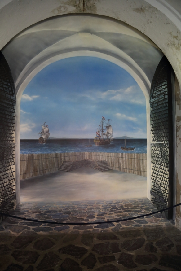 Mural showing the initial location on the Table Bay shoreline