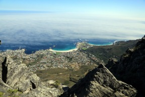 Coastline to rear of Table Mountain still shrouded in fog