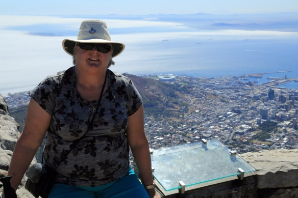 Judi with Cape Town in the background from atop Table Mountain