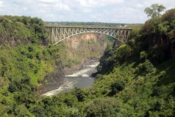 Lower Zambezi River and bridge connecting Zambia and Zimbabwe