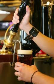 Pouring real ale