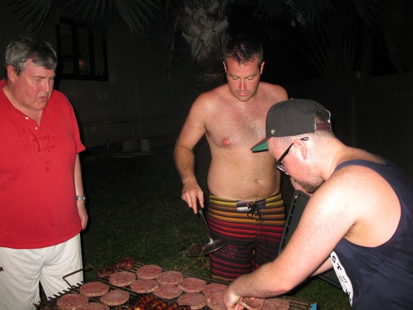 Andy, Iain and one of his friends tending the BBQ
