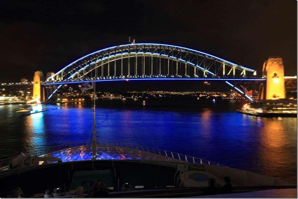 Approaching the vivid blue bridge