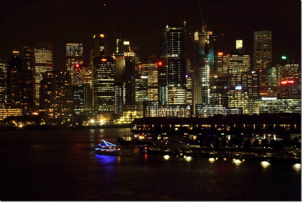 Downtown Sydney at night from White Bay Cruise Trminal