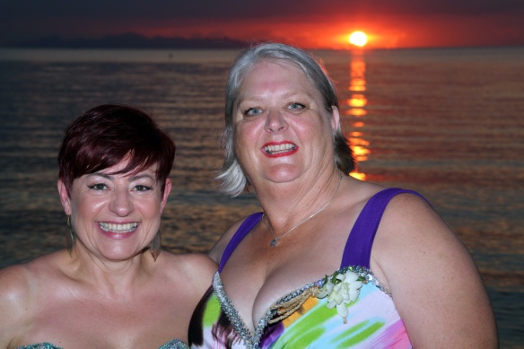 Erika and Judi with sun setting in background