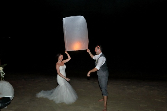 Heidi and Iain releasing the first lantern into the sky