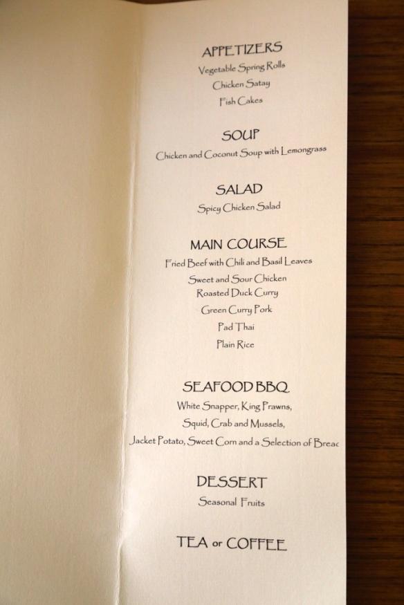 Heidi and Iain's dinner menu