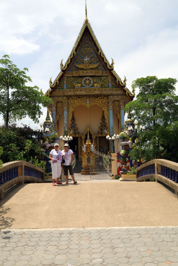 Judi and Frances crossing the bridge to the Temple