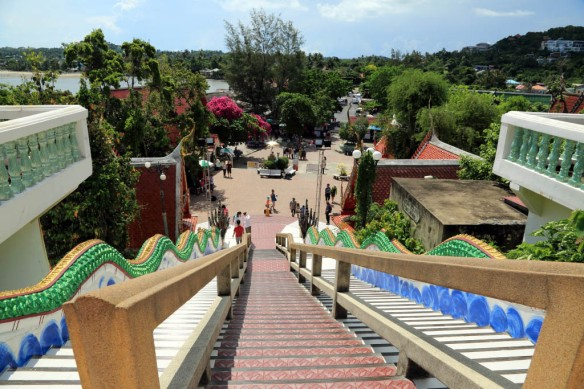 Looking down the stairs towards the market shops and stalls