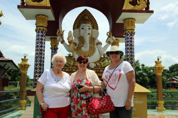 Nan, Erika and Judi at the elephant statue