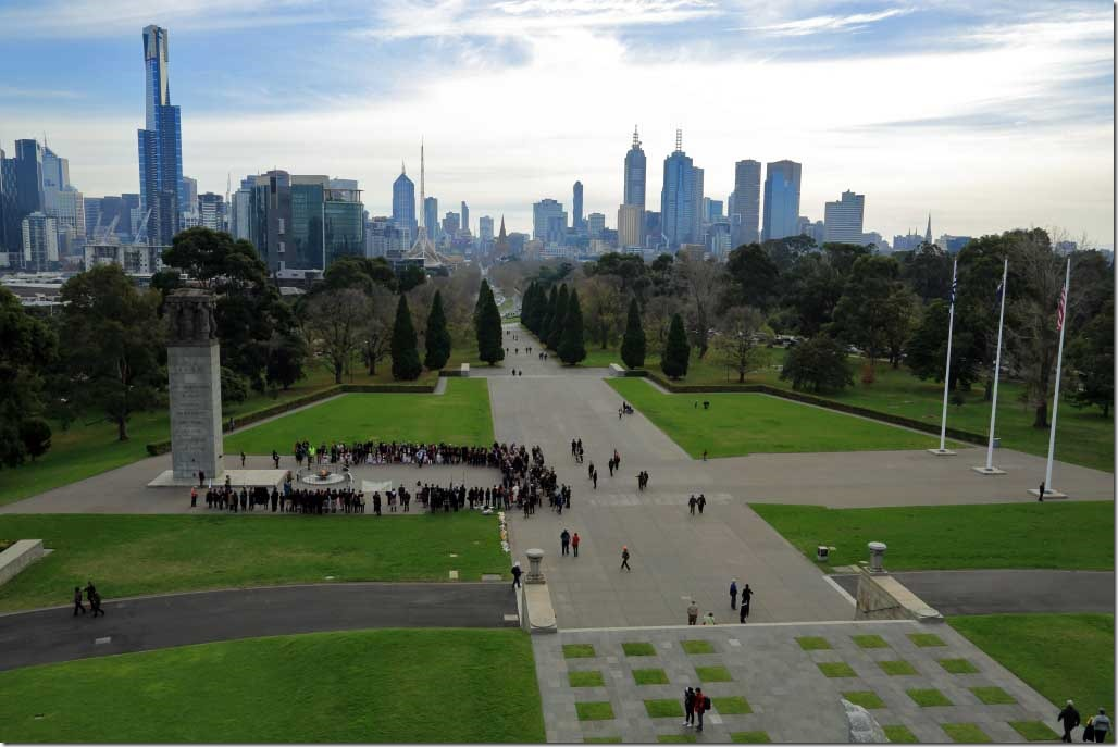 Shrine of Remembrance looking at downtown and building with native face