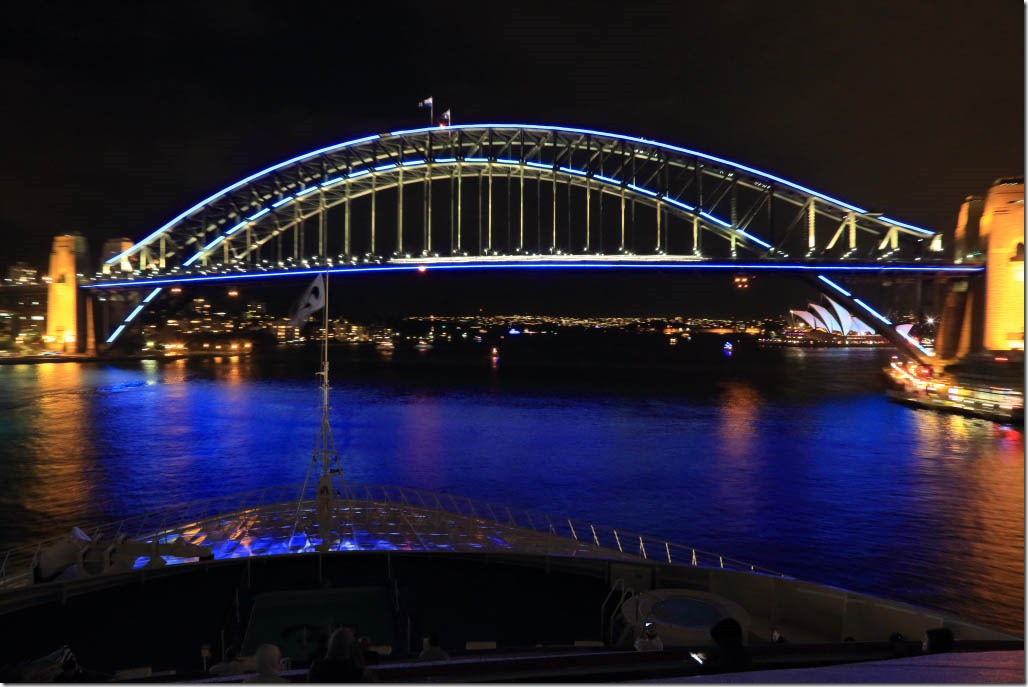 Sydney Harbour Bridge in vivid blue