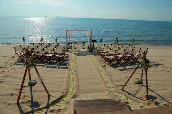 Beach set-up in preparation for the ceremony