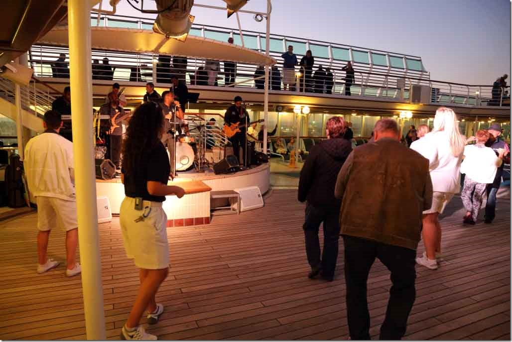 World cruise kick-off champagne party on departing Fremantle
