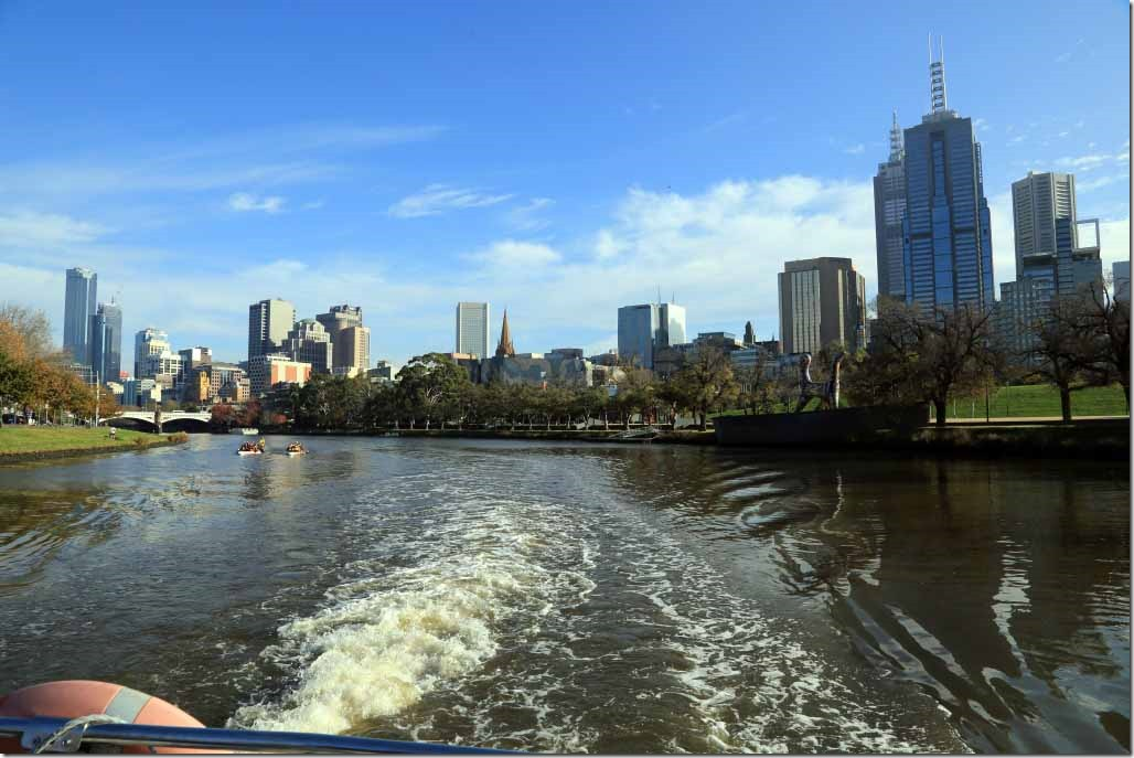 Yarra River cruise looking downriver adjacent to the Olympic Park