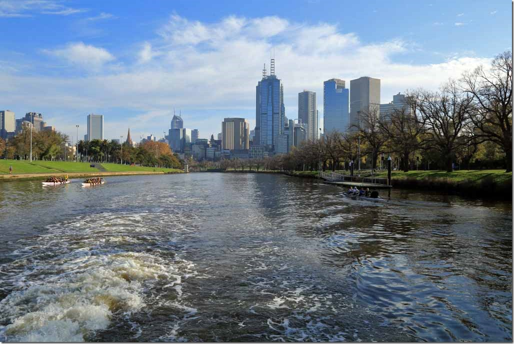 Yarra River cruise with parks and tree lined banks on both sides