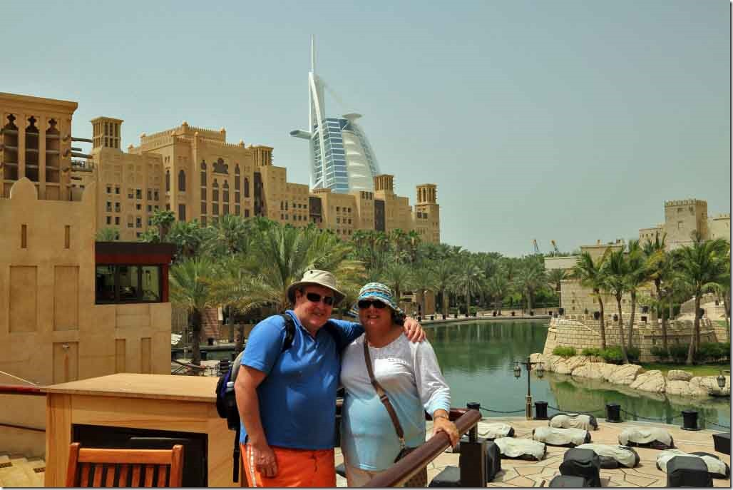 Andy and Judi at Madinat Jumeirah lagoon with Burj in the background 2