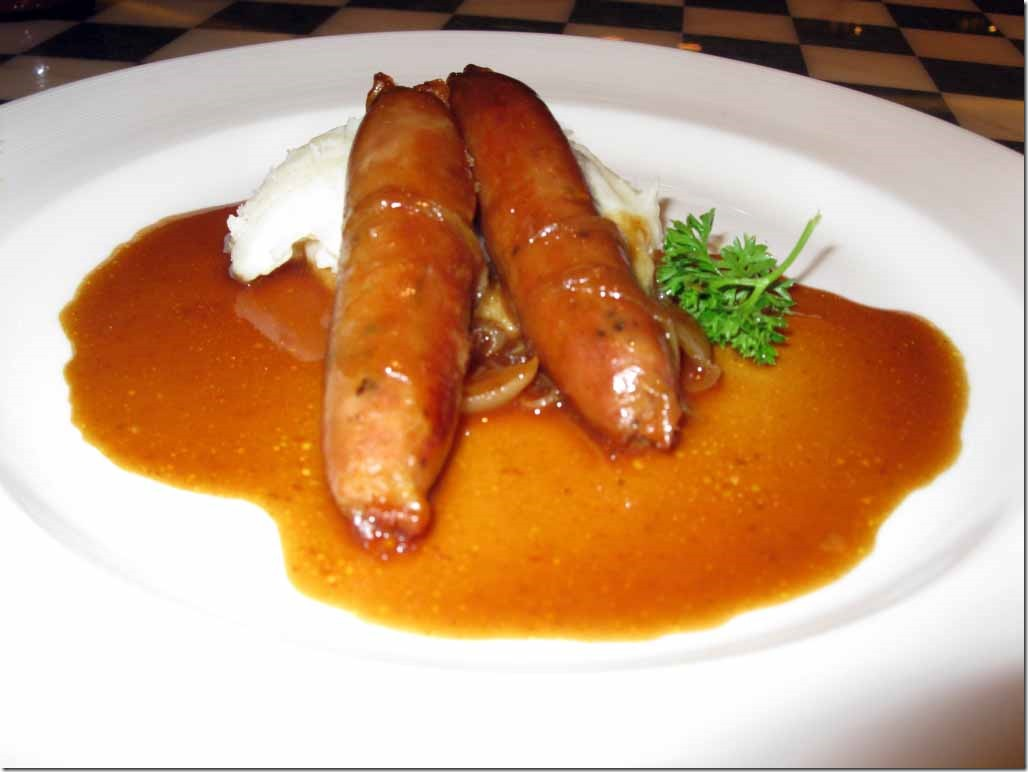 Bangers & mash at Pub Lunch May 31st