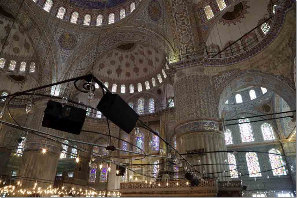 Blue Mosque inside showing columns, roof and exterior wall