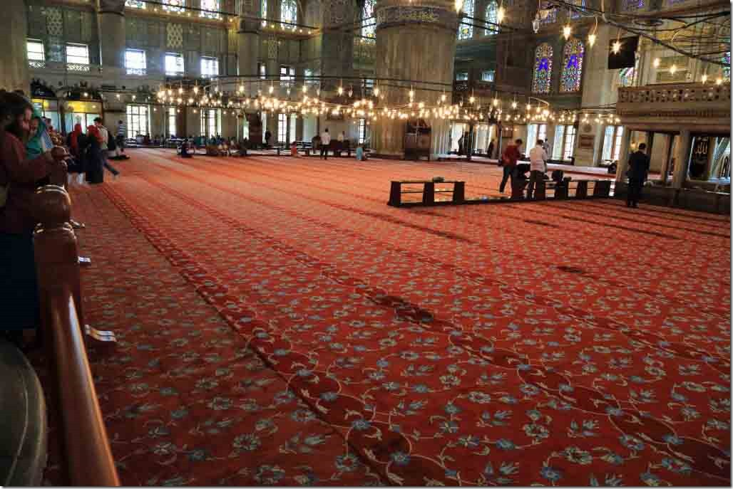 Blue Mosque red carpet area for praying