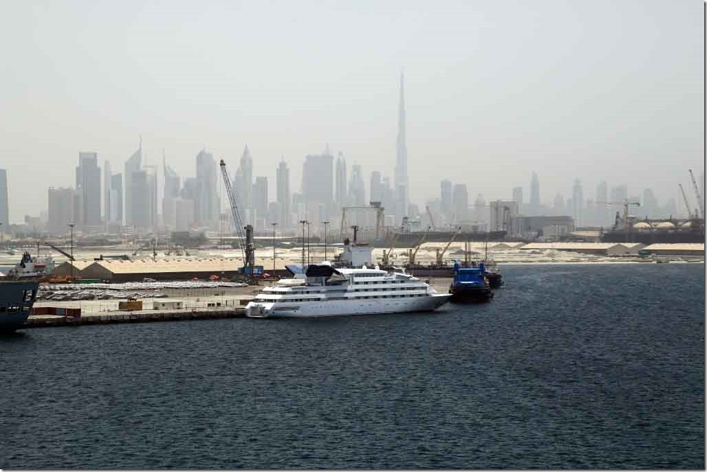 Burj Khalifa behind the Royal Yacht Dubawi