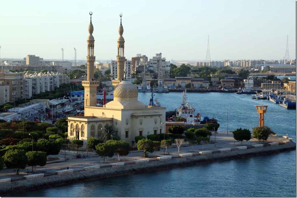 Canal transit mosque at the entrance channel
