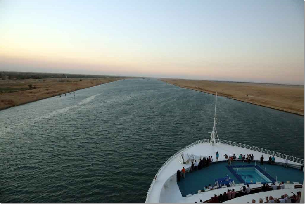 Canal transit Sea Princess heading through Suez Canal