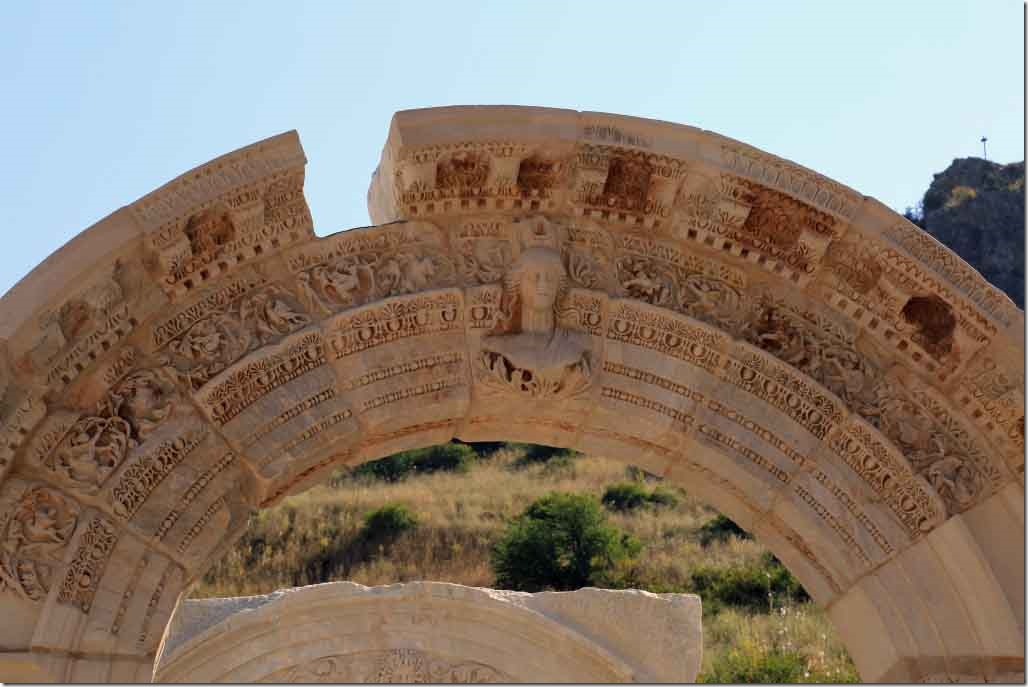 Ephasus Temple of Hadrian arch close up