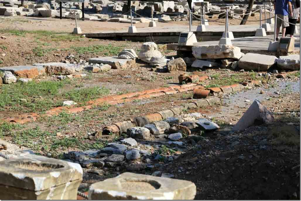 Ephesus water pipes taking water from tank to Roman Baths