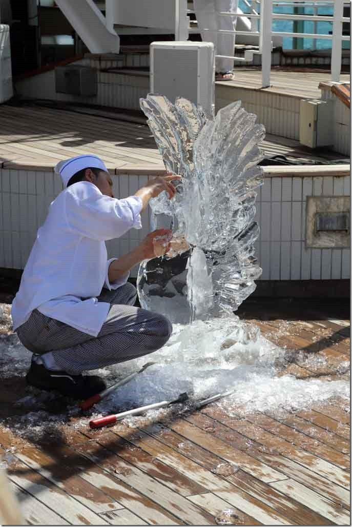 Ice Carving completed swan
