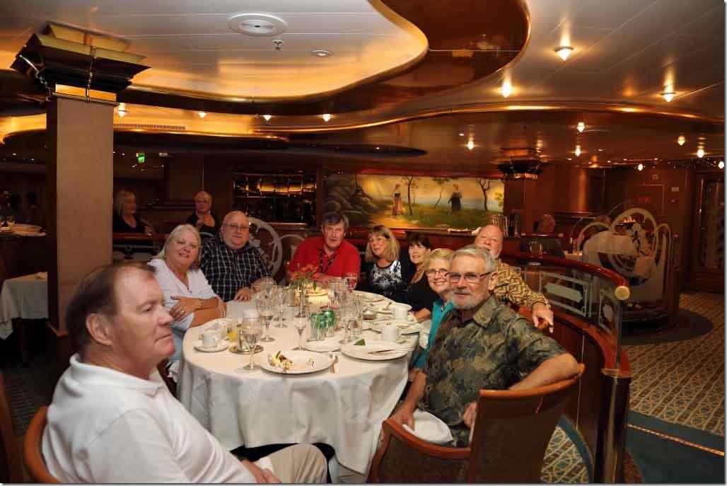 Our dinner table - Roger, Judi, Dean, Andy, Jude, Christine, Bob, Viv & Bruce