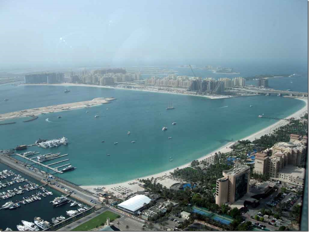 Palm Jumeirah stem with swanky hotels