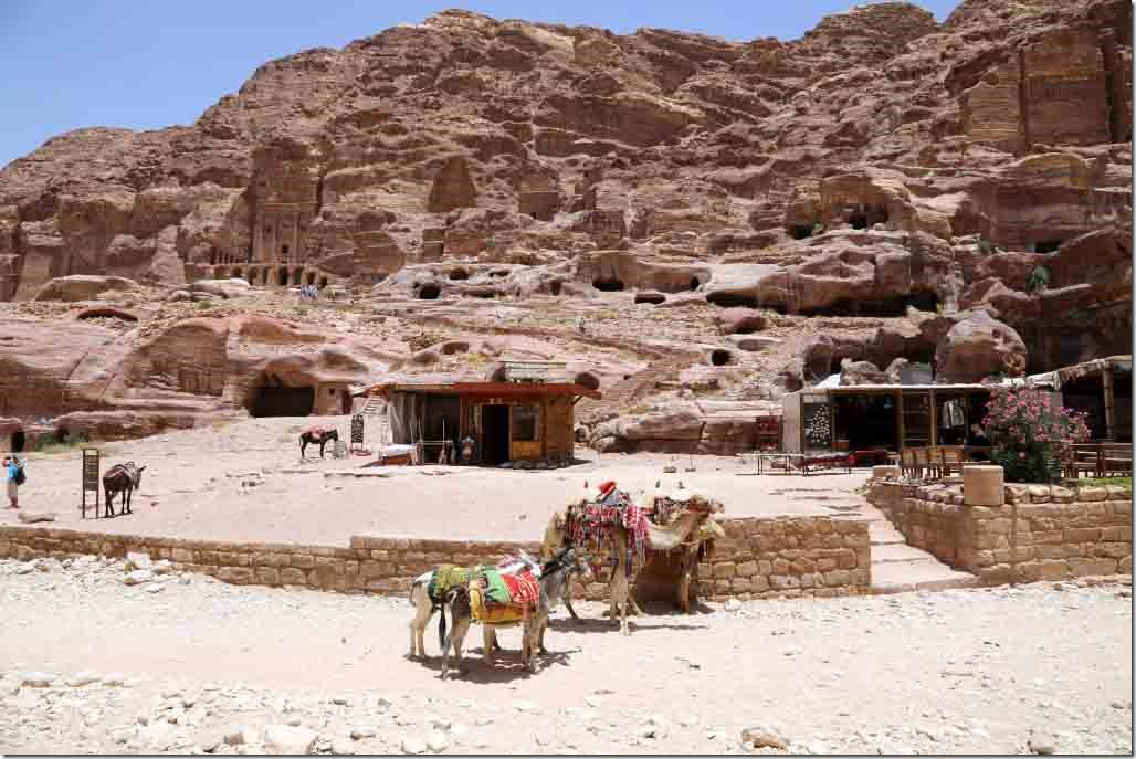 Petra Royal Tombs with donkeys in foreground