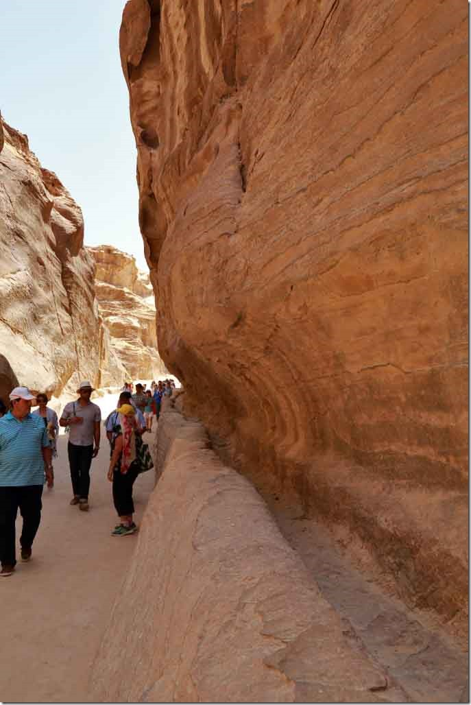 Petra Siq water distribution system along side of cliff