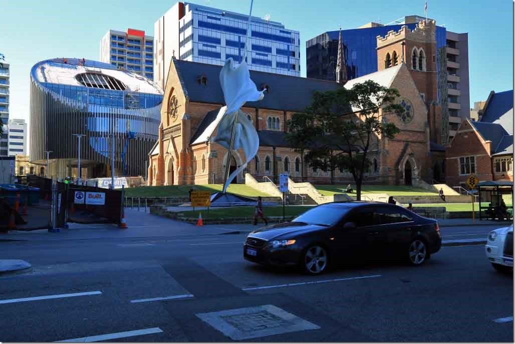 St George's Catherdral surrounded by modern buildings