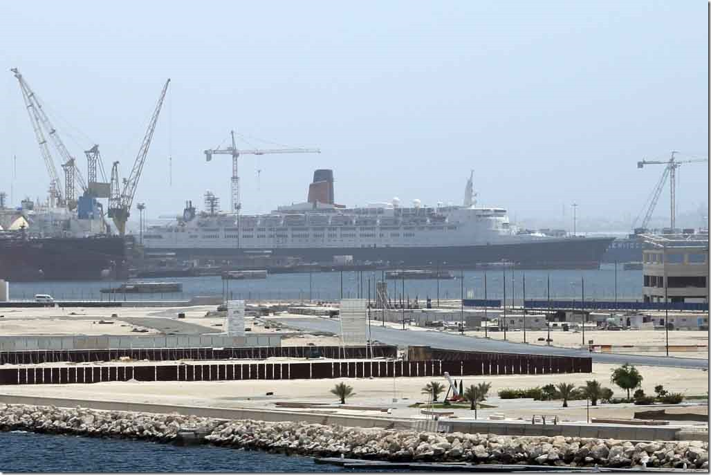 The old QE2 still secured alongside in Dubai 2