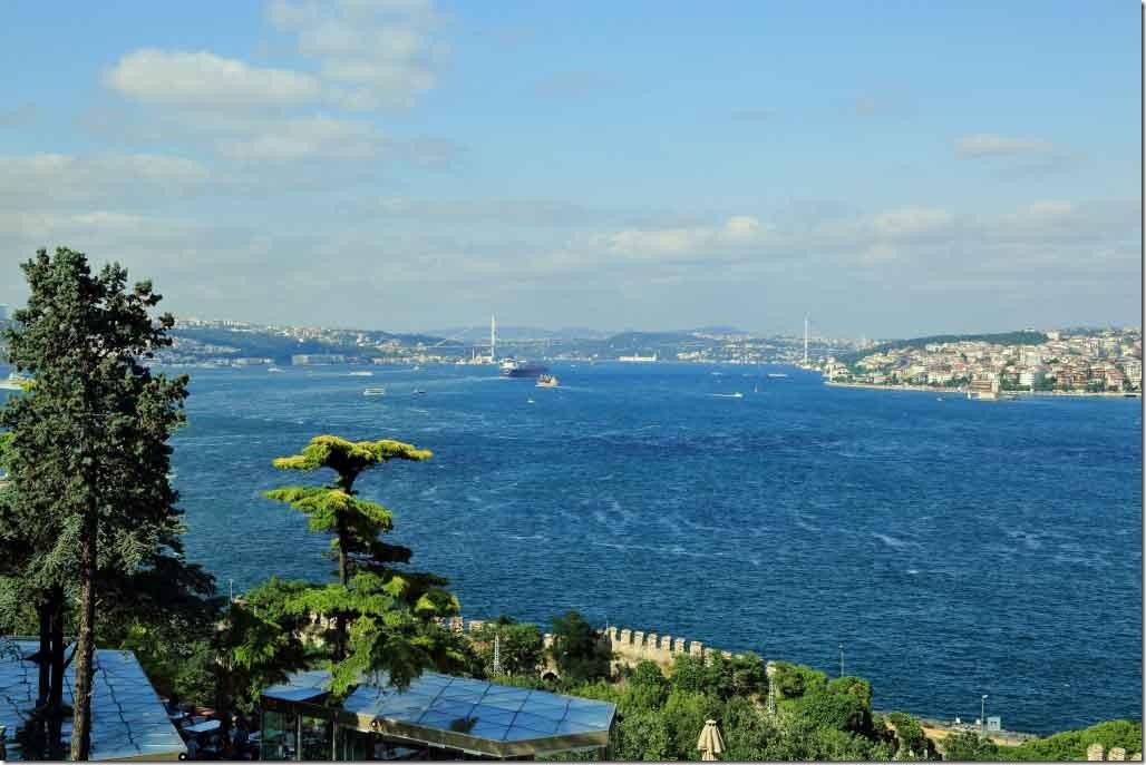 Topkapi Palace outside the Treasury Room looking down the Bosphorus