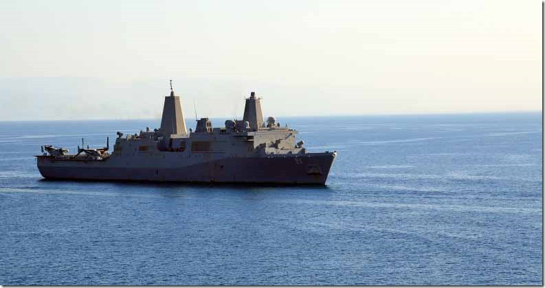 USS New York which has recycled steel from World Trade Towers in her bow