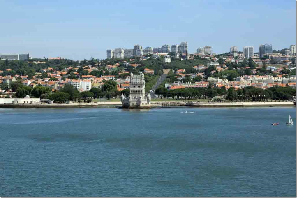 Approaching Lisbon Belem Tower and adjacent park