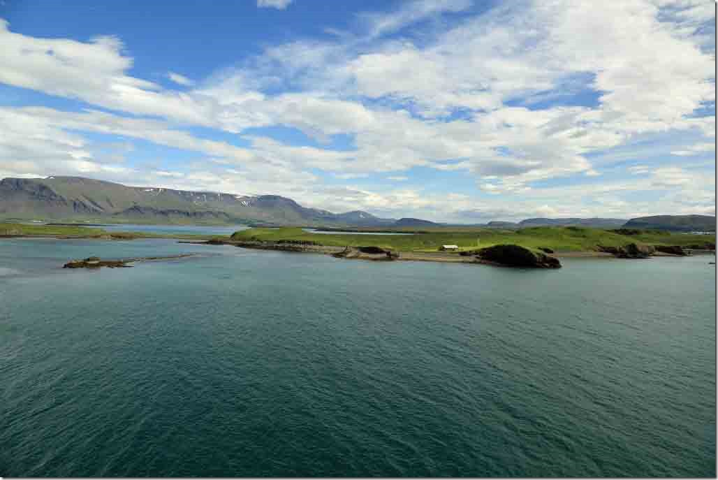 Approaching Reykjavik islands and valley to port when approaching the harbour entrance