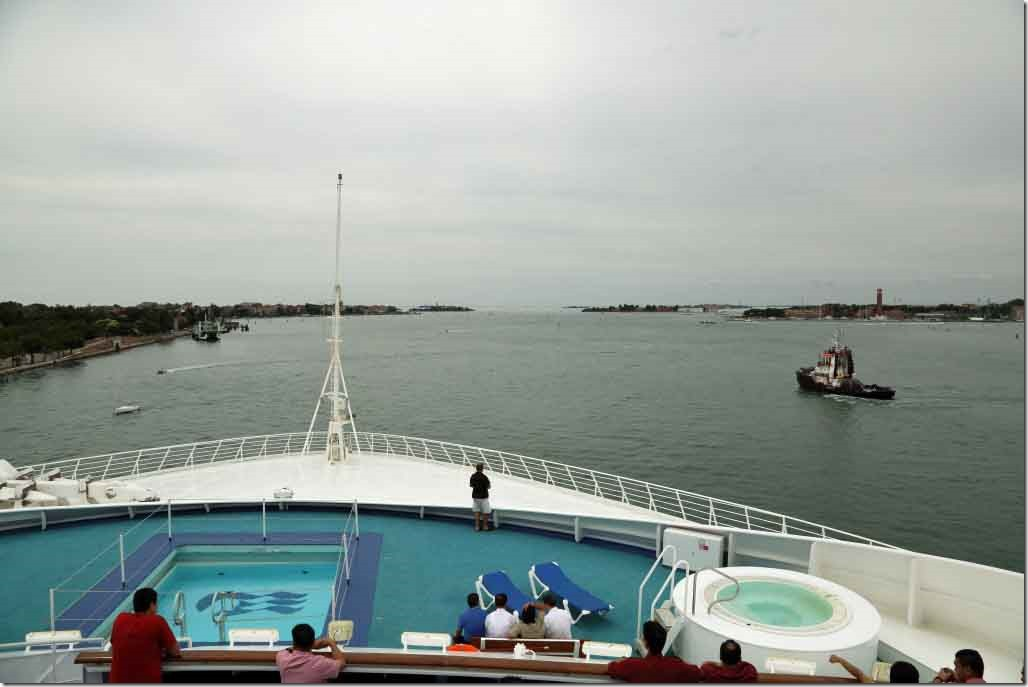 Approaching Venice heading along Lido Island shoreline