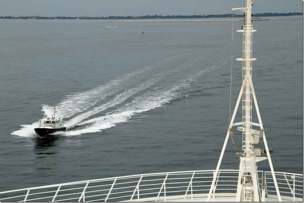 Approaching Venice Pilot Station with Pilot Boat arriving