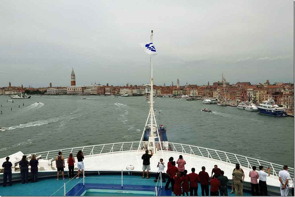Approaching Venice steering on Doge's Palace and St Mark's Square