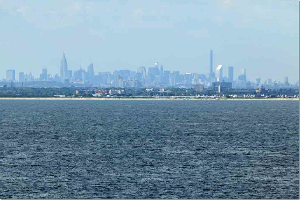 Arrival Long Island beaches with Manhattan in background