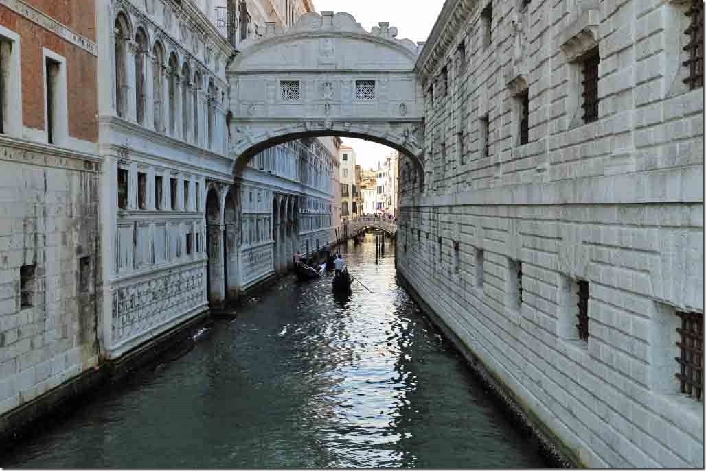 Canal separating Doge's Palace and Prison with Bridge of Sighs