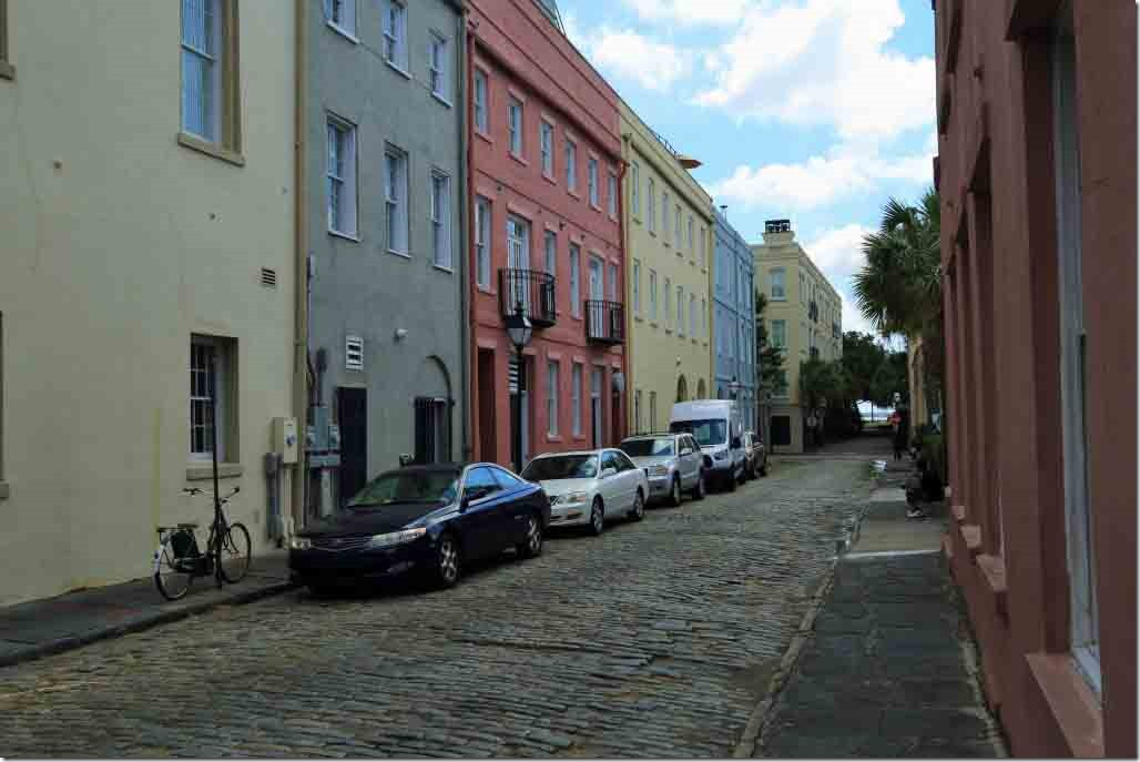 Charleston walk cobbled side street off Bay Street with vivid coloured houses