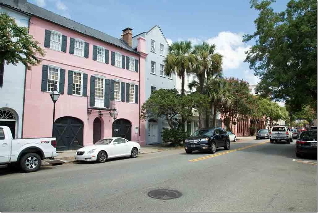 Charleston walk looking along Bay Street at Rainbow Row of houses