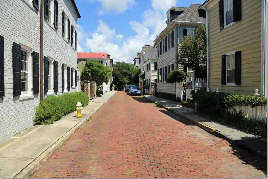Charleston walk paved side street close to Battery Park